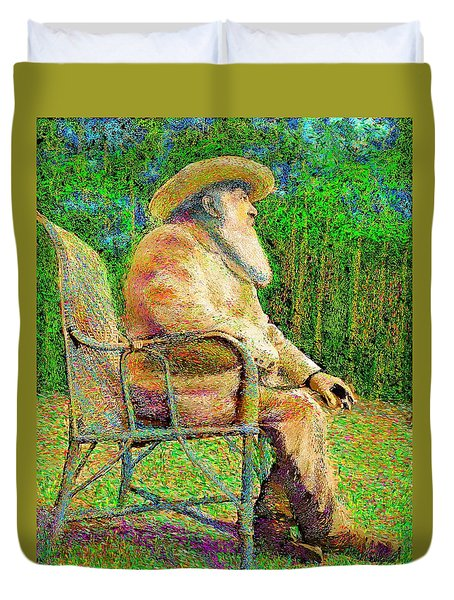 Claude Monet In His Garden Duvet Cover