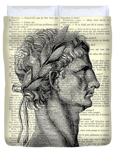 Claudius Caesar Black And White Portrait Duvet Cover
