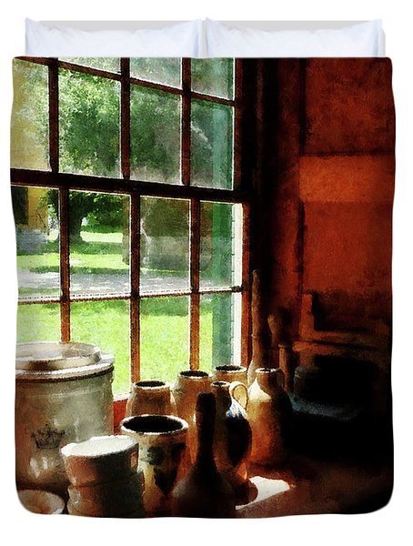 Clay Jars On Windowsill Duvet Cover by Susan Savad