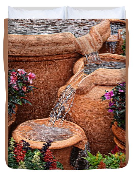 Clay Pot Fountain Duvet Cover