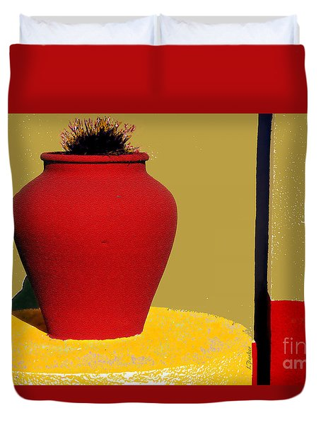 Clay Pot In Red Duvet Cover by Linda  Parker