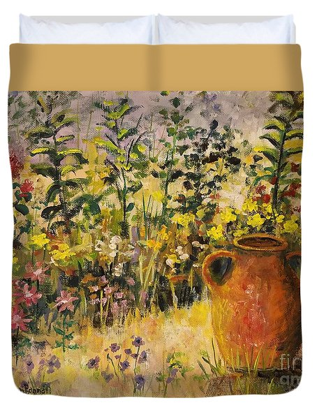 Clay Pot In The Garden Duvet Cover