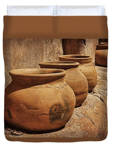 Clay Pots At Tumaca'cori Txt Duvet Cover