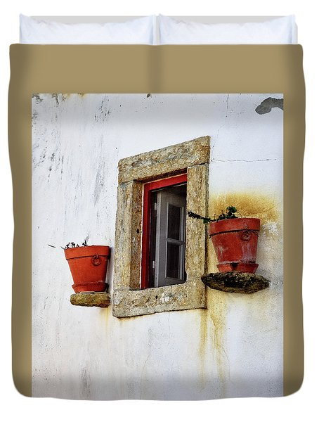 Duvet Cover featuring the photograph Clay Pots In A Portuguese Village by Marion McCristall