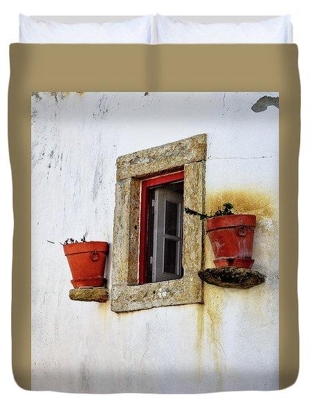 Clay Pots In A Portuguese Village Duvet Cover
