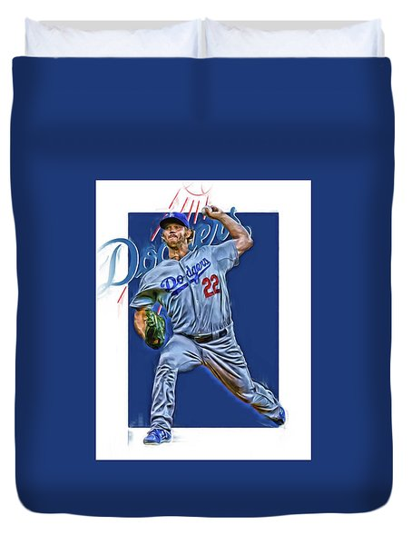 Clayton Kershaw Los Angeles Dodgers Oil Art Duvet Cover