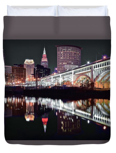 Duvet Cover featuring the photograph Cle In Selective Color by Frozen in Time Fine Art Photography