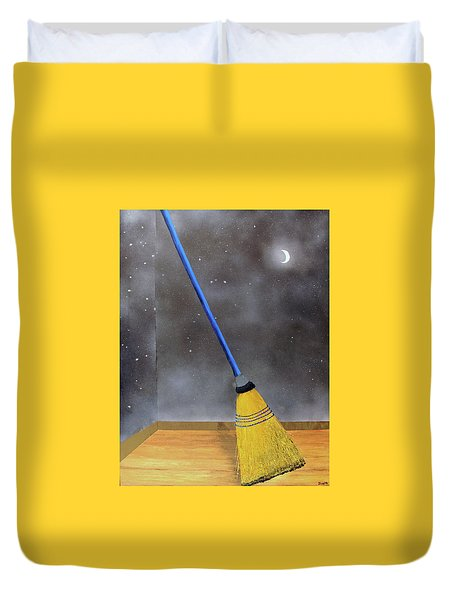 Duvet Cover featuring the painting Cleaning Out The Universe by Thomas Blood