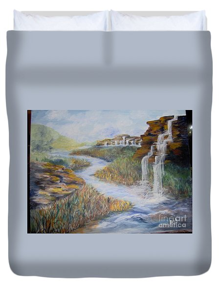 Duvet Cover featuring the painting Cleansing by Saundra Johnson