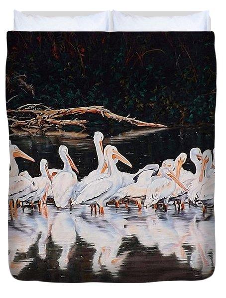 Clear Lake Pelicans Duvet Cover