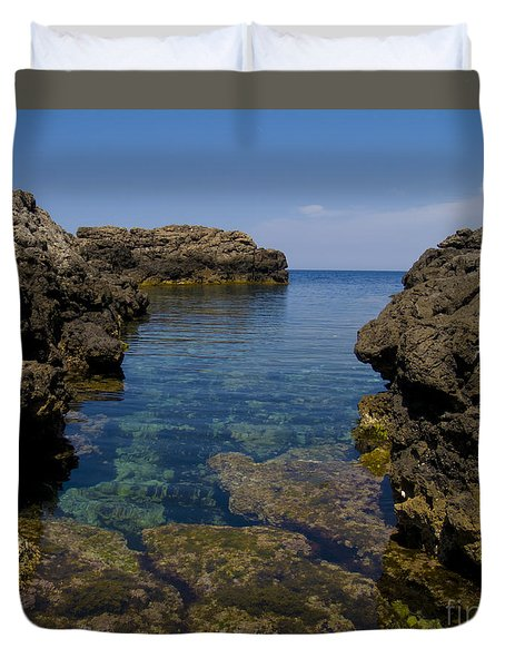 Clear Water Of Mallorca Duvet Cover by Anastasy Yarmolovich