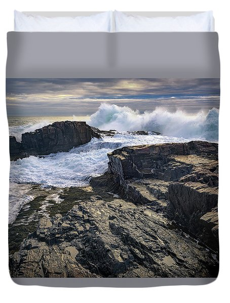 Duvet Cover featuring the photograph Clearing Storm At Bald Head Cliff by Rick Berk