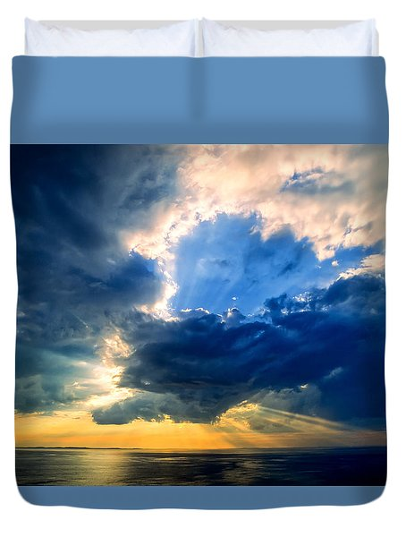 Clearing Storm Halibut Pt. Duvet Cover by Michael Hubley