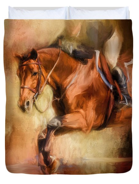 Clearing The Jump Equestrian Art Duvet Cover by Jai Johnson