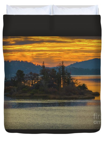 Clearlake Gold Duvet Cover by Mitch Shindelbower