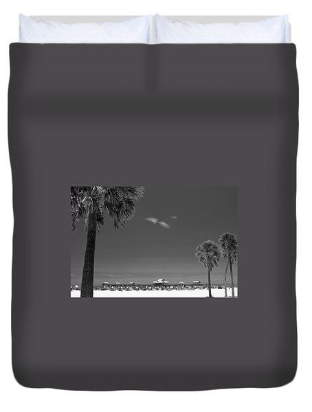 Clearwater Beach Bw Duvet Cover by Adam Romanowicz