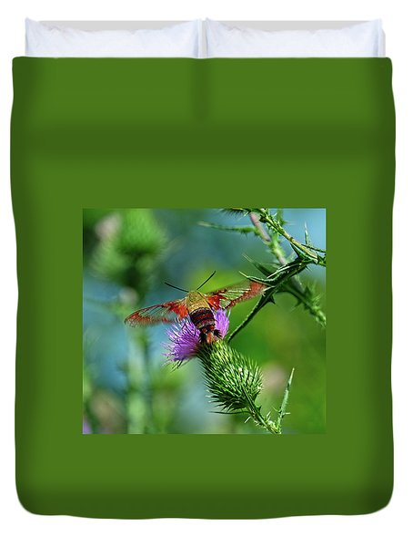 Clearwing Hummingbird Moth Duvet Cover
