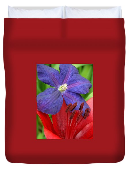 Clematis And Lily Duvet Cover by Rebecca Overton