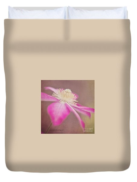Duvet Cover featuring the photograph Clematis In Square Format by Laurinda Bowling