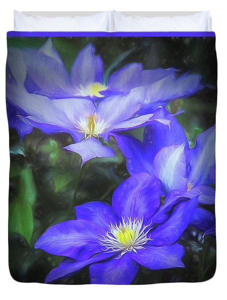 Duvet Cover featuring the photograph Clematis by Linda Blair