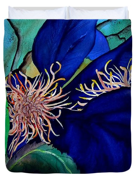 Clematis Regal In Purple And Blue Sold Duvet Cover by Lil Taylor