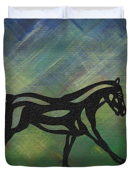 Duvet Cover featuring the painting Clementine - Abstract Horse by Manuel Sueess