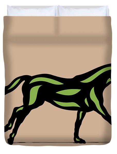 Clementine - Pop Art Horse - Black, Geenery, Hazelnut Duvet Cover
