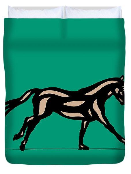 Clementine - Pop Art Horse - Black, Hazelnut, Emerald Duvet Cover
