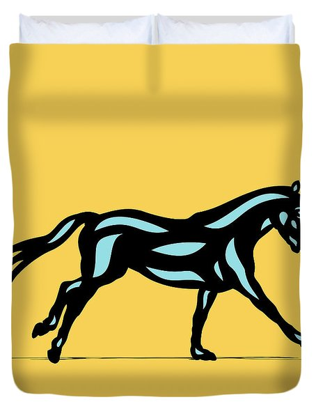 Duvet Cover featuring the digital art Clementine - Pop Art Horse - Black, Island Paradise Blue, Primrose Yellow by Manuel Sueess