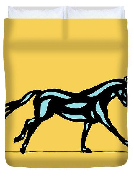Clementine - Pop Art Horse - Black, Island Paradise Blue, Primrose Yellow Duvet Cover