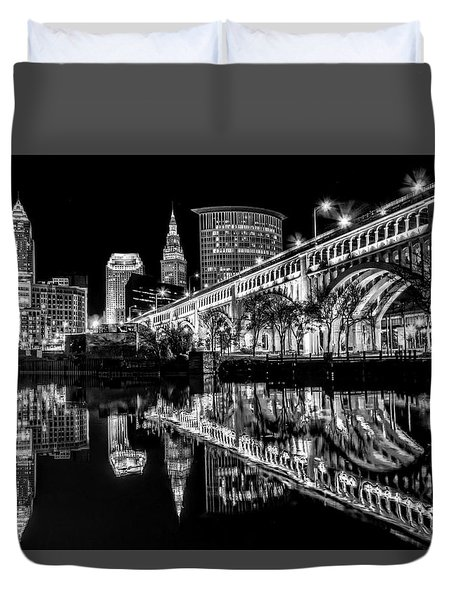 Duvet Cover featuring the photograph Cleveland After Dark by Brent Durken