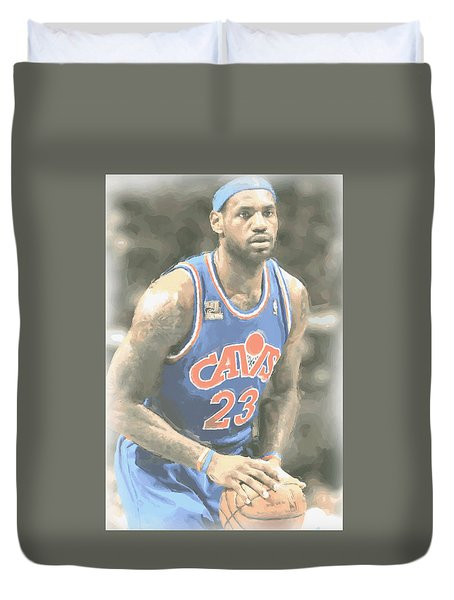 Cleveland Cavaliers Lebron James 1 Duvet Cover by Joe Hamilton