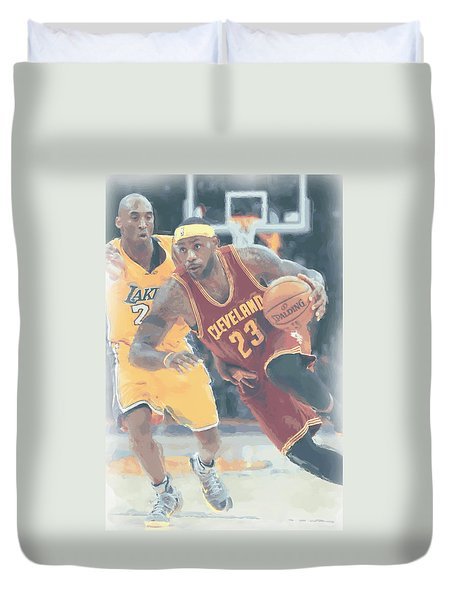 Cleveland Cavaliers Lebron James 3 Duvet Cover by Joe Hamilton