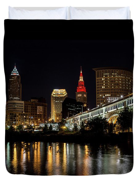 Cleveland Celebrates The Wine And Gold Duvet Cover by Dale Kincaid