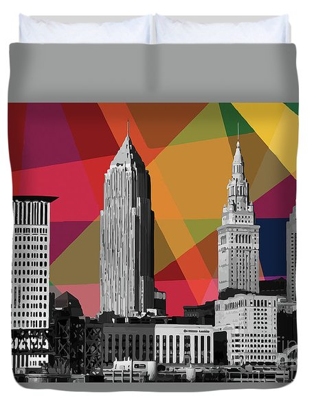 Duvet Cover featuring the mixed media Cleveland Geometric Skyline by Carla Bank
