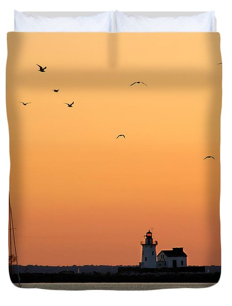 Cleveland Harbor Sunset Duvet Cover by Jon Holiday
