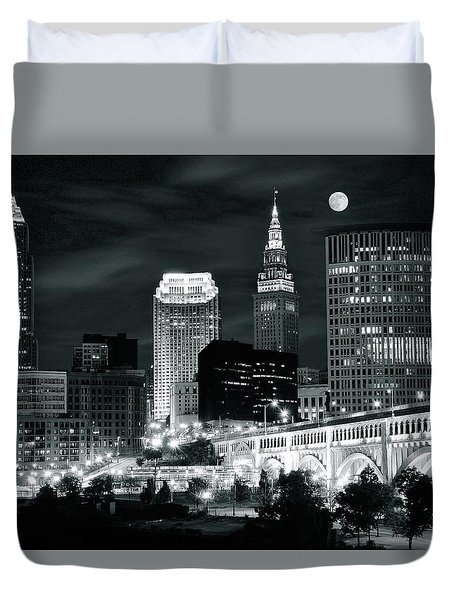 Cleveland Iconic Night Lights Duvet Cover by Frozen in Time Fine Art Photography