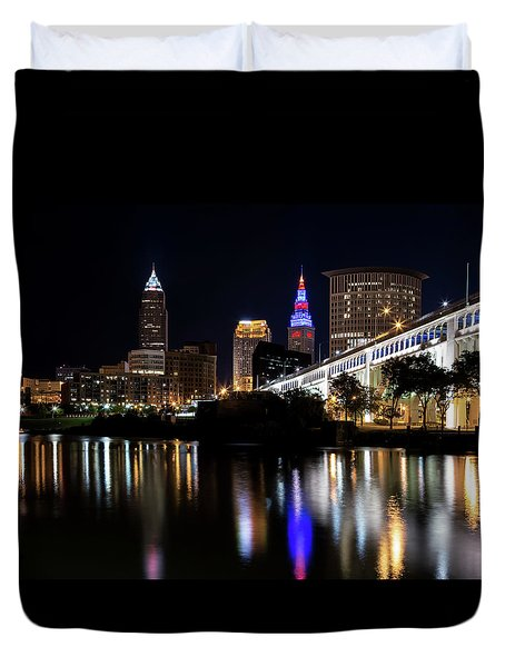 Duvet Cover featuring the photograph Cleveland In The World Series 2016 by Dale Kincaid