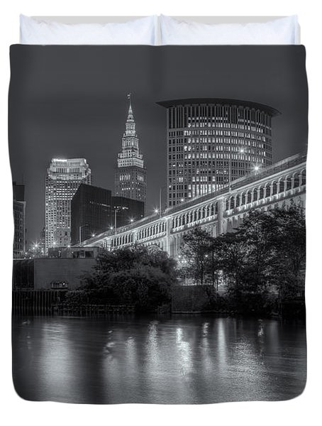 Cleveland Night Skyline IIi Duvet Cover by Clarence Holmes