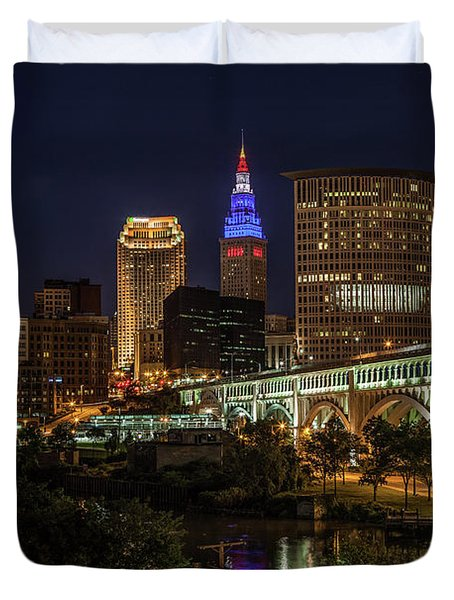 Cleveland Nightscape Duvet Cover
