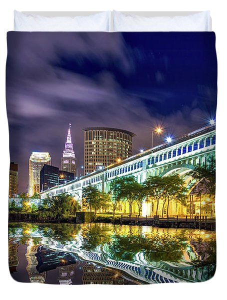 Duvet Cover featuring the photograph Cleveland Skyline 4 by Emmanuel Panagiotakis