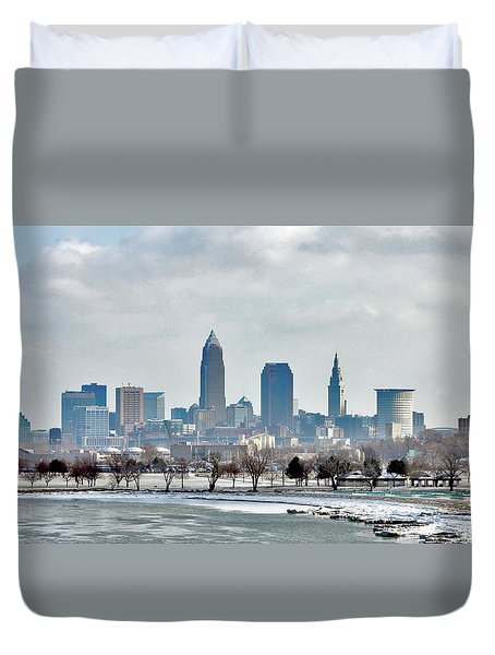 Duvet Cover featuring the photograph Cleveland Skyline In Winter by Bruce Patrick Smith