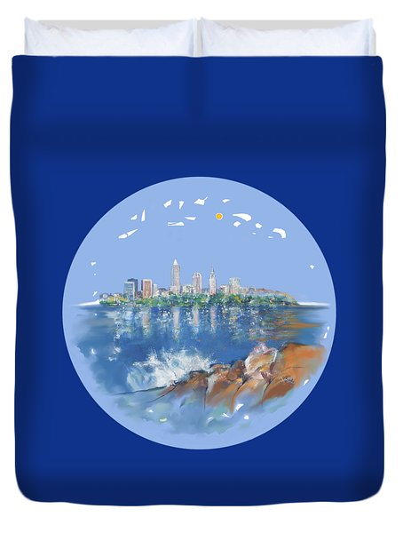 Cleveland Skyline Plate Duvet Cover by Mary Armstrong