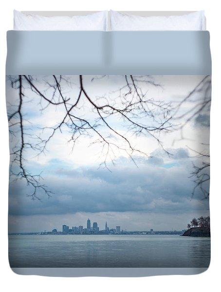 Cleveland Skyline With A Vintage Lens Duvet Cover