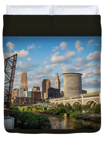 Cleveland Summer Skyline  Duvet Cover