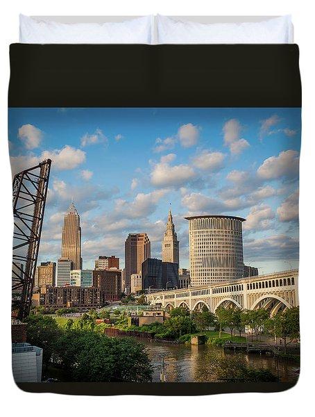 Cleveland Summer Skyline  Duvet Cover