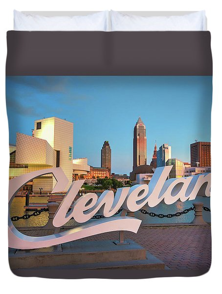 Duvet Cover featuring the photograph Cleveland's North Coast by Brent Durken