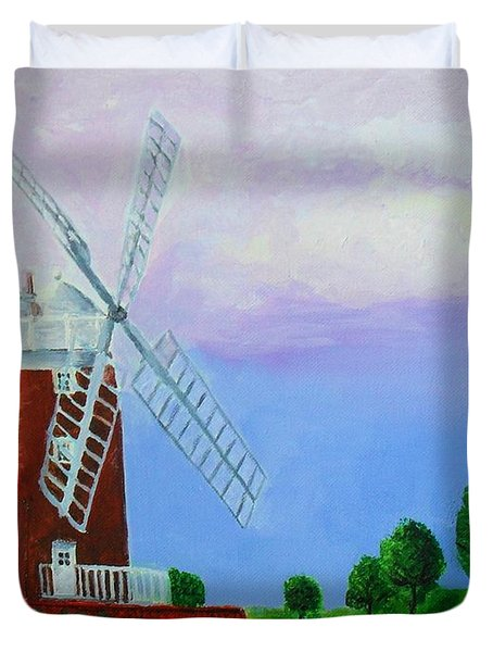 Duvet Cover featuring the painting Cley Mill by Rodney Campbell