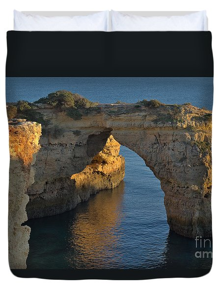Cliff Arch In Albandeira Beach During Sunset 2 Duvet Cover