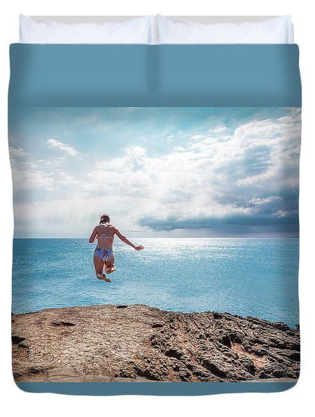 Duvet Cover featuring the photograph Cliff Jumping by Break The Silhouette